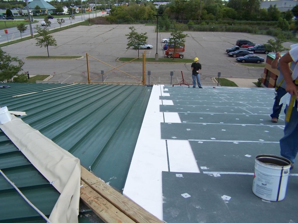 Green Pvc Roof With Ribs Mimics The Look Of A Metal Roof